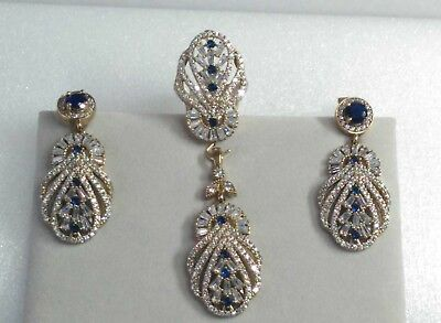 AAA Quality 925 Silver Handmade Jewelry Sapphire Accented White Zircon Full Set