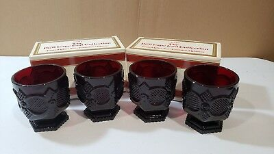 Vintage Avon 1876 Cape Cod Collection Footed Glass Set Ruby Red Set of 4 MIB