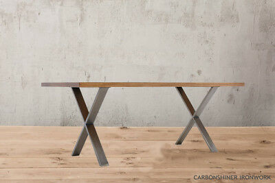 Set of 2 X Cross Shape Table Bench Legs - Industrial Dining Bench Office Desk