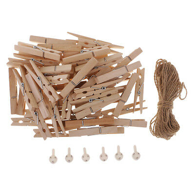 72 Mini Wooden Wood Pegs Clips String Craft Wedding Hanging Hold