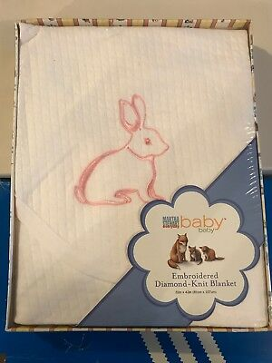 Martha Stewart Baby Blanket White W Embroidered Pink Bunny FREE OVERNIGHT FEDEX