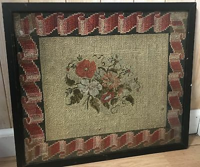 Antique 19th Century Floral Needlepoint