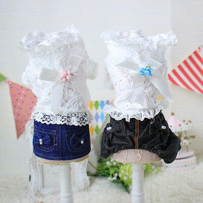 Jeans Pet Dog Clothes Jumpsuit Small Puppy Cat Hoodie Lace Coat Apparel Jacket