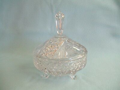 Beautiful Lead Crystal Hand Cut Footed Candy Dish and Lid Made in W. Germany