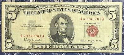 1963 $5 Dollar Bill Old Us Paper Money Currency Red Seal Collector Note.0741A