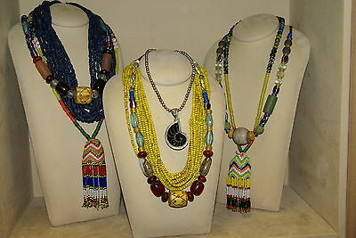Old Borneo Unique Tribal Ethnic Dayak Iban Art Necklace Glass Beads Shell Bone -
