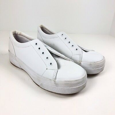 d2184918af9 Keds Girl s Youth Size 3 White Leather Lace Up Sneakers Shoes NEW No Laces  NWOB
