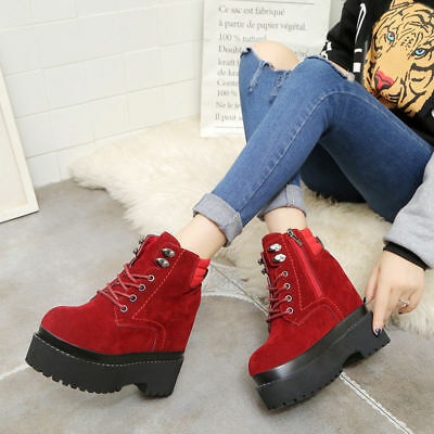 92cb4b0f95cb Women Lace Up Buckle Platform Wedge Ankle Boots High Heel Creepers Goth  Shoes