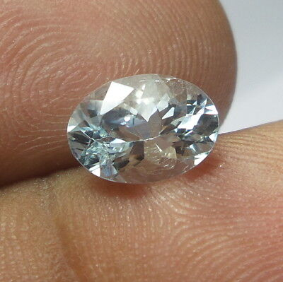 1.3 Ct 8.7x6.4 mm Faceted Natural White Colorless Aquamarine Oval Cut Gemstone