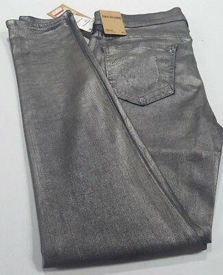 New With Tags True Religion Halle Super Skinny Womens Metallic Jeans Silver S 32