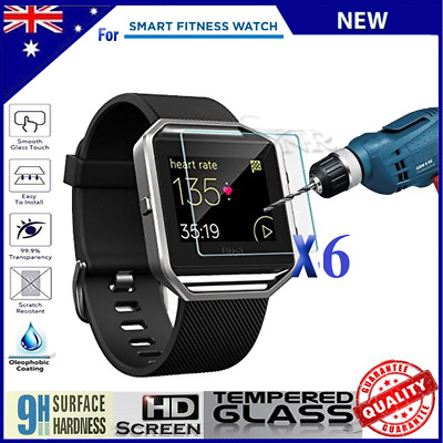 6 x Fitbit Blaze Premium Clear Tempered Glass HD Screen Cover Film Protector