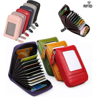 Multi-function Wallet Genuine Leather Credit Card Holder RFID Blocking Zipper