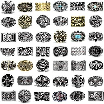 Usbum0333 Celtic Eternity Knot Trinity Cross Floral Cowboy Cowgirl Belt Buckle