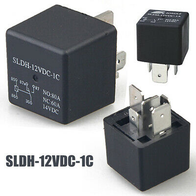 2 Pcs Black SLDH-12VDC-1C 14V DC Relay Car Auto Relay 5 Pins NO : 80A NC : 60A