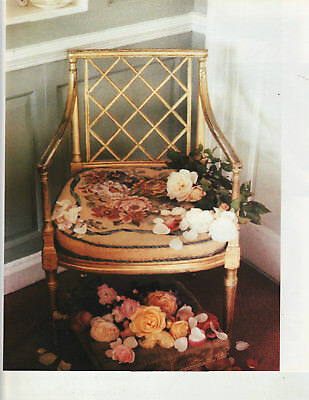 Aubusson Roses Chair Seat Tapestry Needlepoint Chart Candace Bahouth Needlework