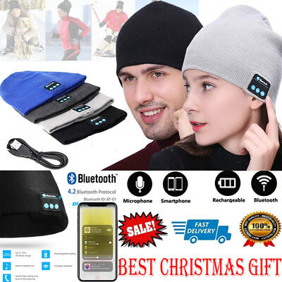 Soft Warm Beanie Hat Wireless Bluetooth Smart Cap Headset Headphone Speaker Mic