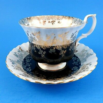 Black Regal Series Royal Albert Tea Cup and Saucer Set