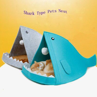 Foldable Shark Mouth Shape Pet Dog Cat Bed Soft Warm Pet House Kennel Nest US
