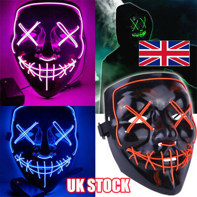 3 Modes Scary Mask Cosplay LED Costume Mask EL Wire Light Up The Purge Movie Y8