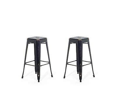 Industrial Set of 2 Metal Bar Stool 2ft5 Black with Gold Patina Cabrillo