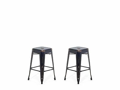 """Industrial Set of 2 Metal Bar Stool 18"""" Black with Gold Patina Cabrillo"""