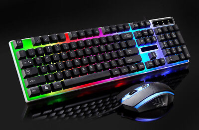Cable Winder Led Rainbow Color Backlight Adjustable Gaming Game Usb Wired Keyboard Mouse Set 30#