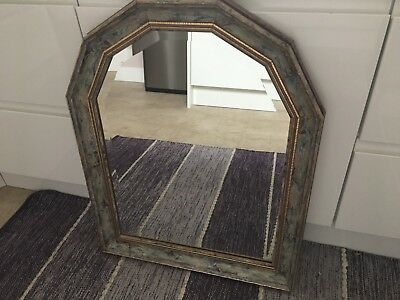 Large arched marble and gilt effect wall mirror with bevelled glass very ornate