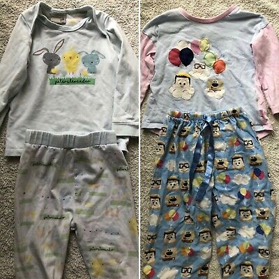 2 x Peter Alexander Pyjamas Baby Size 2 Rabbit And Up