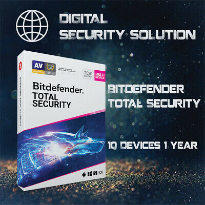 BitDefender Total Security 2020 10 Devices 1 Year + Service Plan