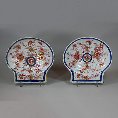 Antique Pair of Chinese imari ribbed shell dishes, early Qianlong (1736-95)