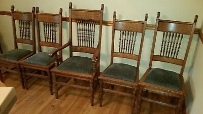 Antique Tiger Oak Dining Room High Back Chairs - Lot of 5