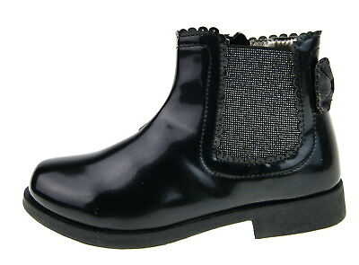 Girls Faux Patent Leather Glitter Bow Ankle Boots Kids School Winter Shoes Size