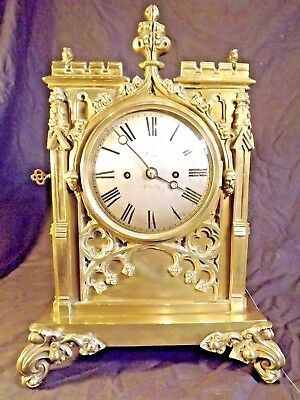 "Gothic Brass Double Fusee Bracket Clock C1850 ""Crew Of Tetbury""."