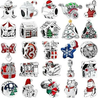 Merry Christmas Santa silver charms Pendant beads Fit European bracelets bangles
