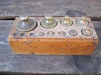 Antique Set Of Brass Scale  Weights - Metric B9597