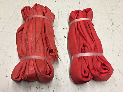 Red Endless Round Slings-Lot of 2 (1) 4Ft & (1) 6Ft Unitex-New  Free Shipping
