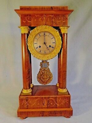 "19c French Inlaid Rosewood ""Portico"" Clock."