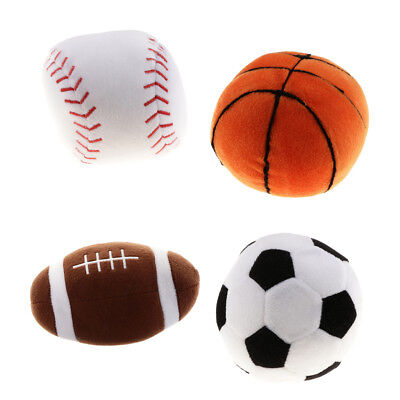 4 Patterns Plush Sports Ball Non-toxic Sound Control Ball Toy Play Activity