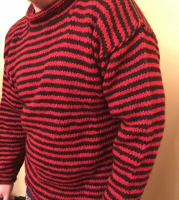 Vintage Handmade Himalayan Knit Red and Black Striped Wool Sweater Durga Wear