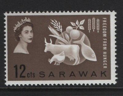 Sarawak SG203 Freedom From Hunger 1963 Sepia 12c Mounted Mint