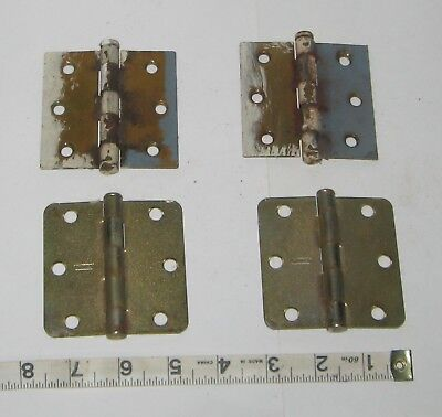 "lot of 2 pair Vintage brass plated door Hinges - 3"" -  x 3"""