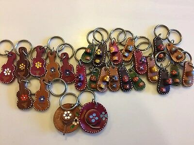 LARGE LOT OF 26 Mexico Vintage Leather KEYCHAINS Guitar Hat Sandal UNUSED