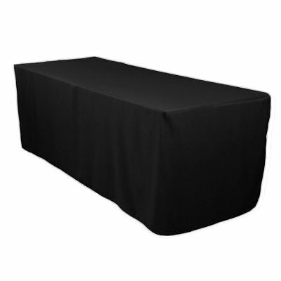 6' ft. Fitted Polyester Tablecloth Table Cover Wedding Banquet Event PARTY BLACK