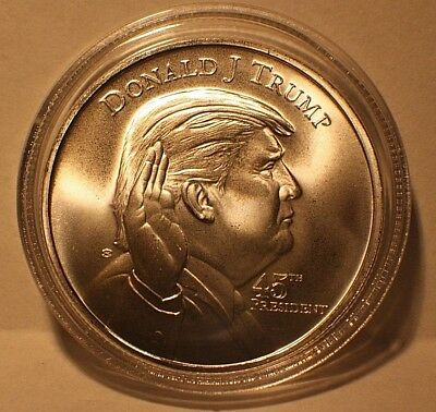 NEW Donald Trump & White House 1oz .999 Fine Silver Round Bullion Coin W/Airtite
