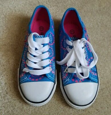 New -Girls Youth Classic Low Top Canvas Tennis Shoes-Blue Lace Up Sneakers Kids