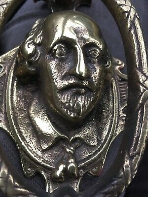 Vintage CAST BRASS ANCHOR DOOR KNOCKER Shakespeare Face