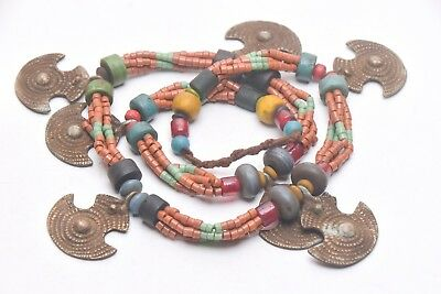 Traditional Naga Necklace of Old Handmade brass beads,glass Large Metal pandant