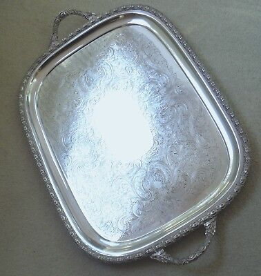 Gleaming V Large Vintage Silver Plated Tray-Ornate Borders Etc