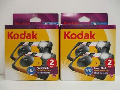 4 Kodak Hd Power Flash Disposable Cameras 27 Exposure - Exp 7/14+ New Nt 3381