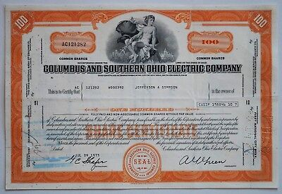 alte Aktie - Columbus and Southern Ohio Electric Company Historisches Wertpapier